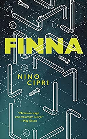 Cover of Nino Cipri's book FINNA. The illustration shows a stylised furniture construction diagram with screws, tubes and arrows, too complicated to make sense.