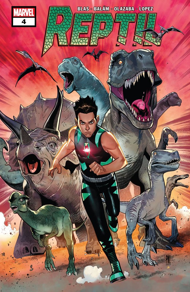 Paco Medina and Federico Blee's cover for Reptil #4 by writer Terry Blas, penciler Enid Balám, inker Victor Olazaba, colorist Carlos Lopez, and letterer Joe Sabino