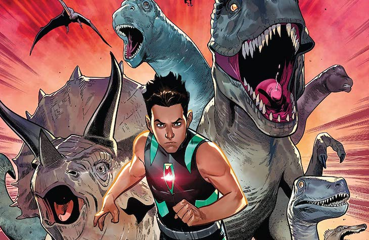 Paco Medina and Federico Blee's cover for Reptil #4 by writer Terry Blas, penciler Enid Balám, inker Victor Olazaba, colorist Carlos Lopez, and letterer Joe Sabino feature image depicting Reptil running with dinosaurs