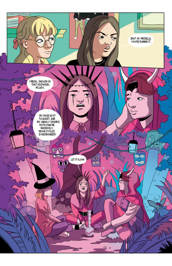 Pages from Painted featuring young girls doing a magical ritual in the forest