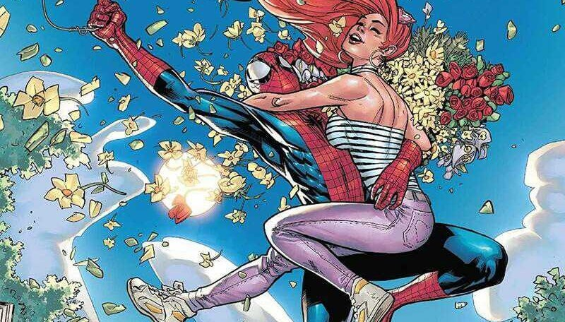 Spider-Man holds MJ in a precarious grip as he swings along. She is blissfully unaware of his distress