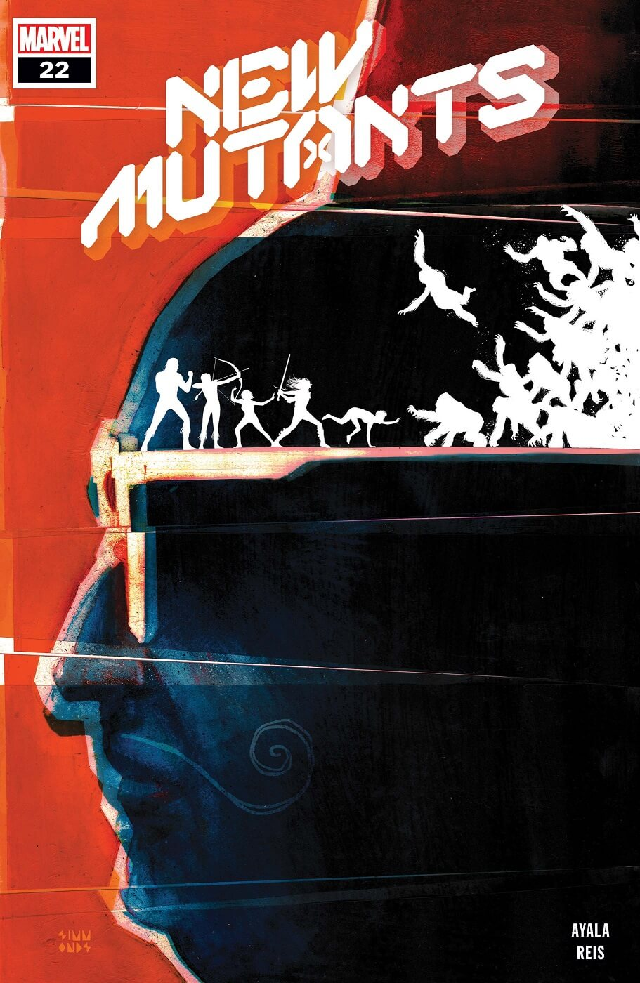 The almost silhouetted profile of the Shadow King on a red background. His head fills the whole cover except for the text New Mutants. In white silhouette, standing on the ear of his sunglasses (also white), the New Mutants fight an attacking horde of primates.